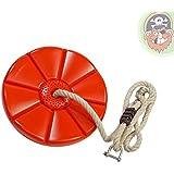 Balançoire disque rouge avec corde et manille pour tyrolienne de Gartenpirat®