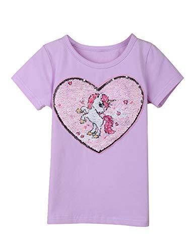 Bricnat Mädchen T-Shirt Wende Pailletten Einhorn Kurzarm Tunika Bluse Rundhals Top Sommer Casual Violett Lila 110 - Mädchen Glitzer T-shirt