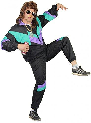 Kostüm 80er Horror Jahre Filme (Foxxeo 4021x I 5-teiliges Premium 80er Jahre Kostüm bestehend aus Jacke, Hose, brauner Perücke, Sonnenbrille und Dollar-Kette | Größe: S - XXXL | Trainingsanzug Assi Assianzug Jogginganzug Retro schwarz lila)