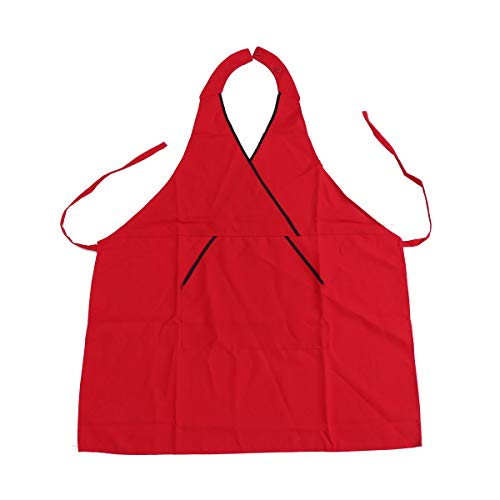 UPKOCH V-Ausschnitt Schürze Unisex Schürze Kochen Küchenschürzen Leinwand Schürze für Küche Restaurant Cafe Barbecue (rot) - V-ausschnitt Schürze