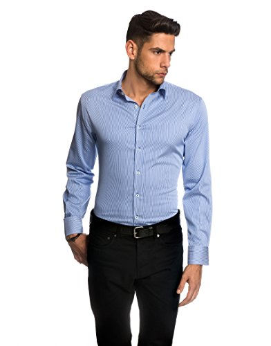 Embraer camicia uomo eleganti, taglio aderente/slim-fit, collo classico, manica lunga, a righe - facile da stirare bianco/blu 37/38