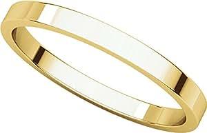 14ct Yellow Gold, Flat Wedding Band 2MM (sz H)