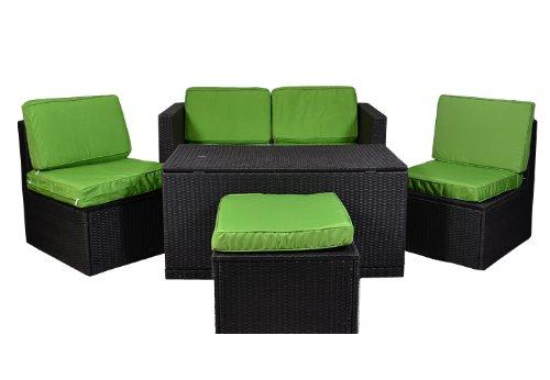 Nexos Gartenmöbel 6tlg Set Sitzgruppe Poly Rattan Lounge Garten Garnitur Couch grün