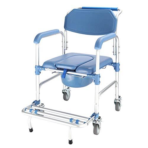 MMZZ Commode Toilettenstühle,Rollender Dusch- und Nachtkommode-Transportstuhl mit Rädern und gepolstertem Sitz für Behinderte, ältere, verletzte und behinderte Personen