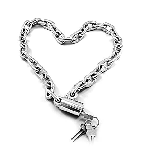 Full Stainless Steel Security Chain Lock, Universal Heavy Duty Anti-theft Integrated Cycling Locks With 3 Keys for Motorcycle Motorbike Bicycle Bike, Strong and Durable Scooter Wheel Lock for Outdoor Overnight Locking