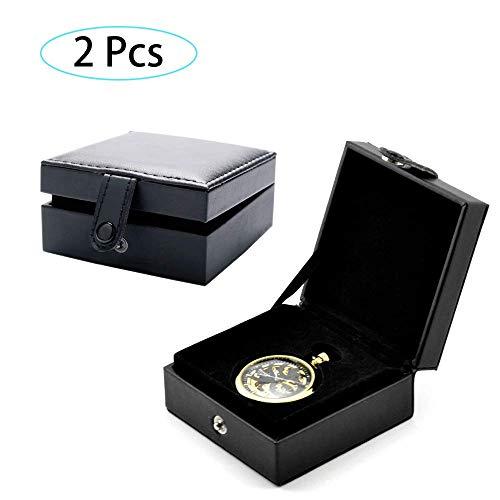 ück, Enthält Keine Taschenuhren) PU Leder Taschenuhr Box Display Aufbewahrungskoffer, Taschenuhr Schmuck Aufbewahrungsbox Fall Armband Fach Kunstleder ()