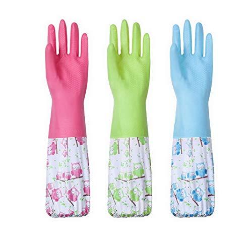 AOOPOO Haushalthandschuhe warm gefüttert Gummihandschuhe für Geschirrspüllen wasserdicht 3 Paare lange Handschuhe für Winter Herbst