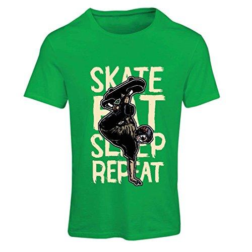Maglietta Donna Eat-Sleep-Skate-Repeat Per gli appassionati di skateboard, regali Skateboarder, abbigliamento da skateboard Verde Multicolore
