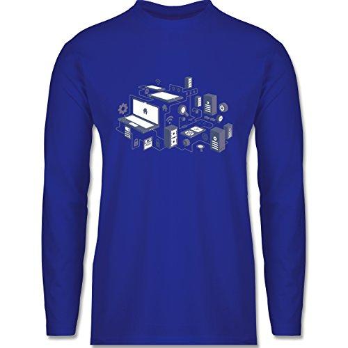 Shirtracer Nerds & Geeks - Netzwerk Design - Herren Langarmshirt Royalblau