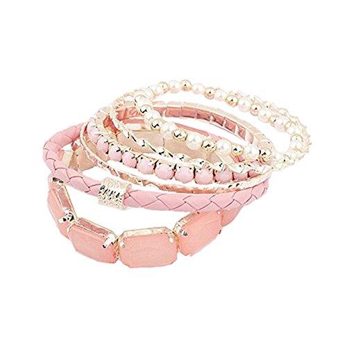 Sanwood Bohemia Multi Layer Armkette Perlen Armband Armschmuck Armreif Schmuck (Rosa)