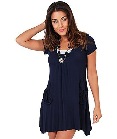 KRISP Damen Kleid 3in1 Set Tunika Top Schmuck_(3984-NVY-10)