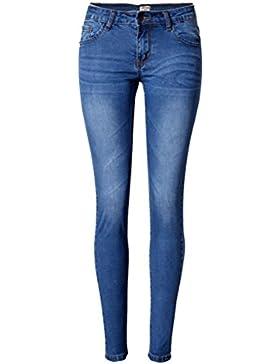 SaiDeng Pantalones Elásticos Skinny Slim Vaqueros Leggings Jeans Para Mujer Azul 42
