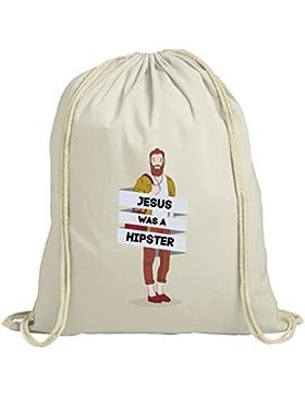 natur Turnbeutel mit Jesus Was A Hipster Motiv von ShirtStreet