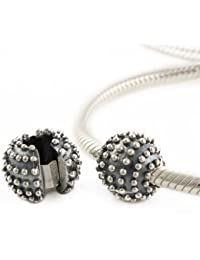 Andante-Stones - original, cuenta de plata de ley 925 sólida, cierre a presión, elemento separador, elemento bola para pulseras modulares European Beads + saco de organza