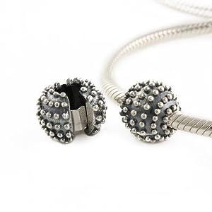 Andante-Stones 925 Sterling Silber Bead Charm Clip Stopper Sphere Oxidiert – Element Kugel für European Beads Modul Armband + Organzasäckchen