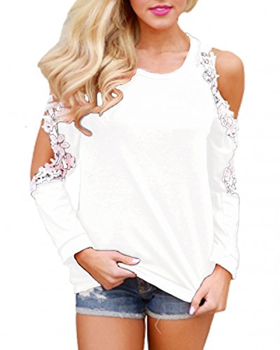 StyleDome Damen Shirt Langarm Bluse Crochet Lace Jumper Beiläufiges Hemd Casual Tee Tops Oversize Schulterfrei Oberteil Tunika Weiß 2XL