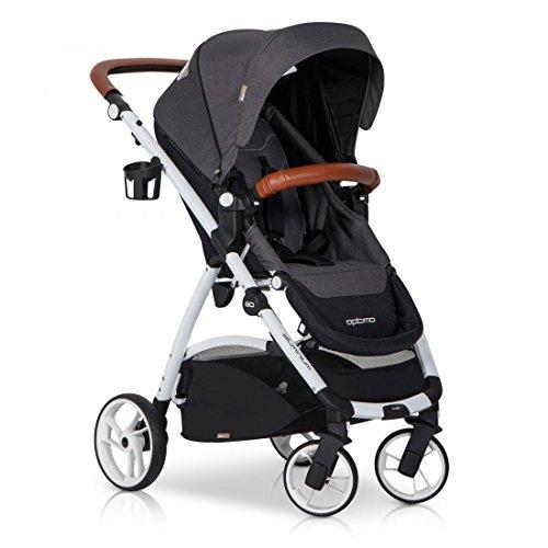 easyGO Buggy Sport Kinderwagen OPTIMO Anthracite mit Liegefunktion - zusammenklappbar - Alu und Leder - Baby ab 6. Monate