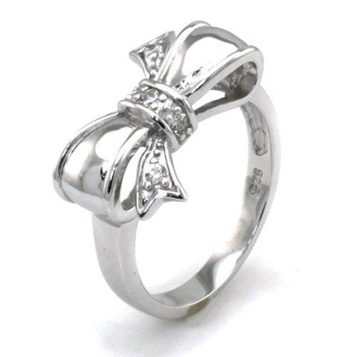 Sterling Silber Zirkonia Unendlich Schleife Ring - Größe 59 (18.8)