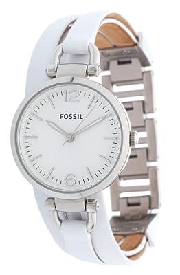 Fossil ES3246 de cuarzo para mujer con correa de piel, color blanco