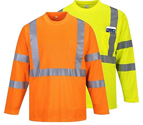 Preisvergleich Produktbild Portwest s191yerxxl Herren Hi-Vis langärmelige Pocket T-Shirt, Regular, Größe XXL, gelb
