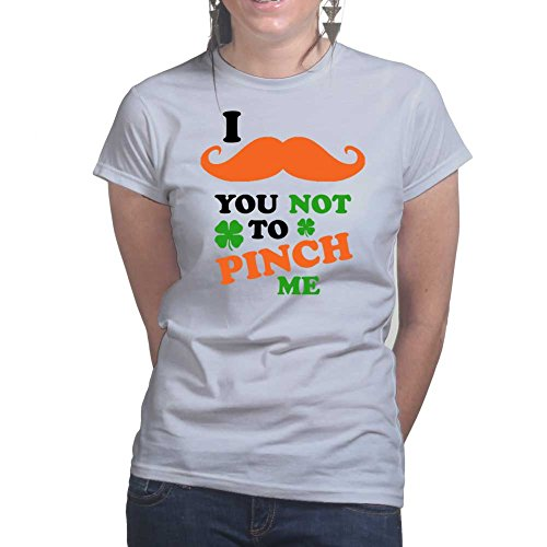 Moustache You Not to Pinch Me - St Patrick's Day Shamrock Ireland Ladies T  shirt Grau