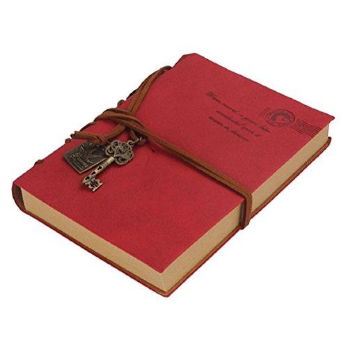 Vintage-stil-bogen (Retro-Vintage-Stil PU Cover-String-Schlüssel gebunden leeres Notizbuch Notizblock Tagebuch Sketchbook(Red))