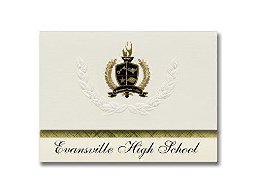 Signature Ankündigungen Evansville (High School (Evansville (, Wi) Graduation Ankündigungen, Presidential Stil, Basic Paket 25Stück mit Gold & Schwarz Metallic Folie Dichtung