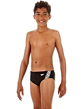 Speedo Badehose Monogram BRF JM - Slip para competición para niño, color negro / blanco, talla FR: FR : 8-10 ans...