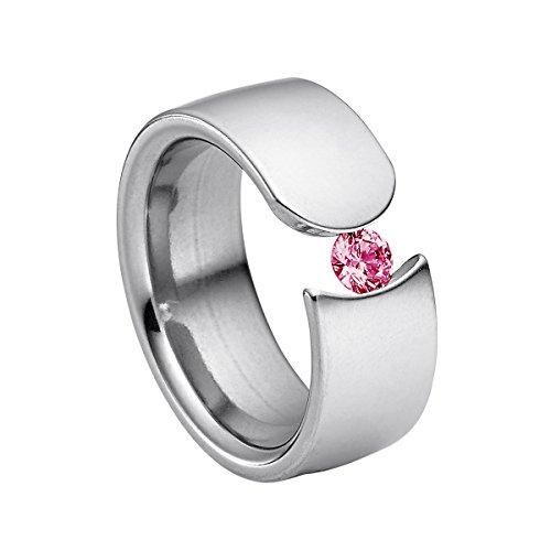 Heideman Damen-Ring figura poliert Gr.55 Swarovski zirconia rubin 4 mm Ringe mit Stein Zirkonia Diamant Edelstahl Größe 55 (17.5) hr1004-3-6-55