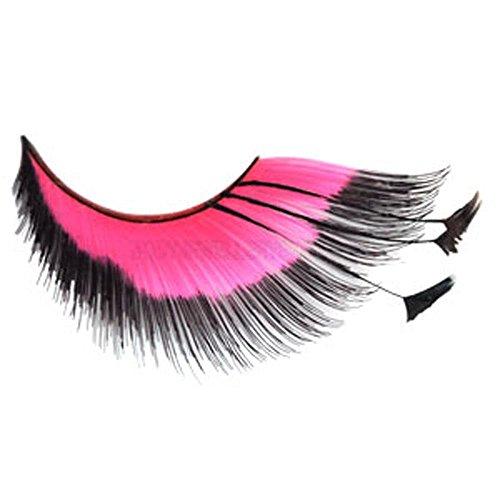 Falsche Wimpern - Plume Federn rosa und schwarz