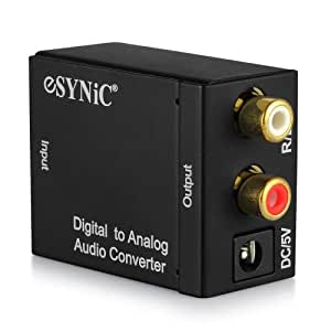 ESYNiC DAC Digital Optical Coaxial Toslink to Analog Stereo RCA Audio Converter - Digital to Analogue Audio Converter PS3 XBox 360 HDTV Blu RAY DVD Sky HD Amazon Fire TV Box