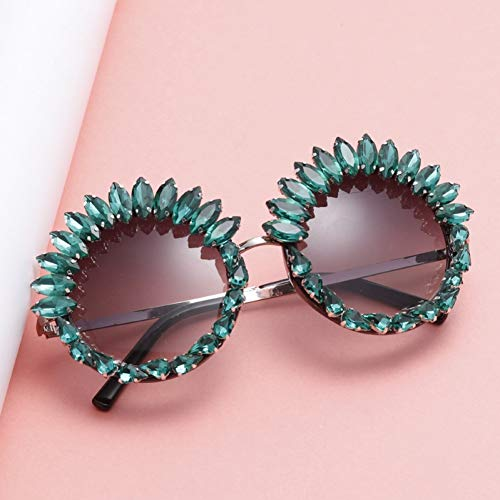 SYQA Übergroße runde Sonnenbrille Frauen Green Diamond Crystal Strass Sonnenbrille UV400,C1