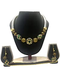 Ratnatraya Round Metallic Heavy Pendant Crystal Beads Necklace Set With Earrings | Traditional Stylish Ethnic...