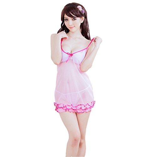 Tucute Sexy Honeymoon Lingerie For Women / Ladies and Girls Nightwear Net Babydoll Dress Sleepwear (Pink) 1489-0