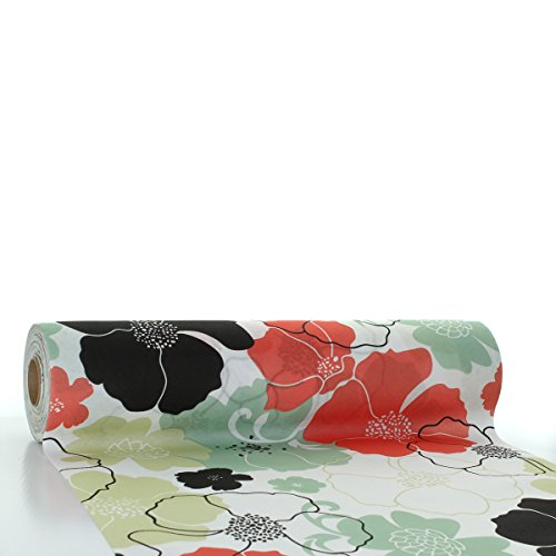 �ufer Nora | Linclass® Airlaid Tischläufer 40cm x 24m | Tischdecken-Rolle stoffähnlich | Einmal-Tischdecke für Hochzeit & Partys Rot-Grau ()