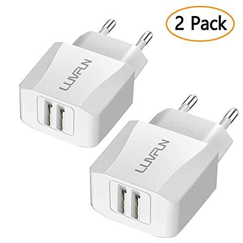 Luvfun Chargeur Secteur USB, 2-Port (5V/2.1A) Chargeur Adaptateur Chargeur Mural USB Universel avec Technologie iSmart -Blanc [Lot de 2]