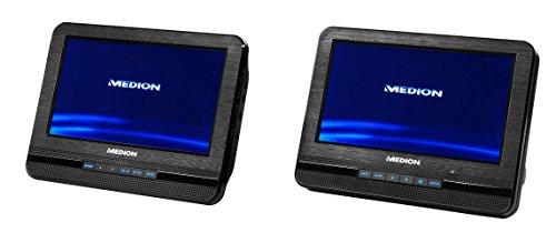 MEDION LIFE E72053 MD 43084 Tragbarer DVD-Player (7 Zoll) 2 Bildschirme, Wiedergabe von MP3, Lautsprecher mit 2x2 Watt RMS, Xvid, AVI und MPEG4 kompatibel, schwarz