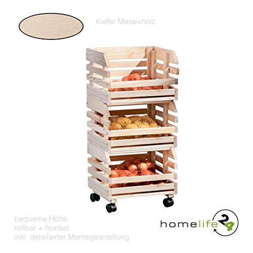 Küchenwagen Früchtehorde Küche Rollwagen Regal Allzweckwagen mit 3 Ablagen, aus Massivholz auf Rollen