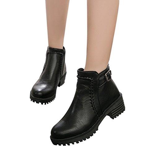 haussures Femmes,Sonnena Bottes Femme Étudiant Automne Hiver Chaussures Plates Mode Boots Chaussures pour Femmes Bottes Courtes ÉPaisses