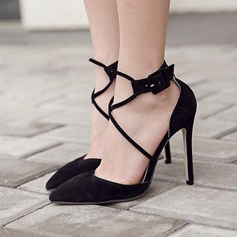 SHINIK Damen Knöchelriemen Pumps Fine Heel Hohlzauber High Heels Temperament Sandalen Black