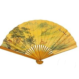 abrakado.nath 1 EVENTAIL Chinois Bambou Jaune Carton 25 CM Mode Fete événement ACS Deguisement
