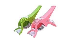 DeoDap Plastic Vegetable Cutter with Peeler, Set of 2, Multicolour