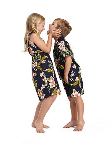Hermanos-del-nio-y-nia-emparejados-Hawaiian-Luau-trajes-en-azul-marino-con-rosa-floral-Nia-6-Nios-8