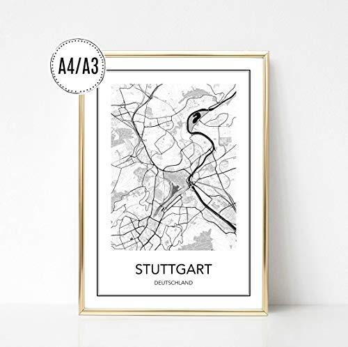 Poster Karte STUTTGART, Stadtplan, City Map, Kunstdruck, Print, Wandbild, schwarz weiss, minimalistisch, modern, Format: DIN A4 / DIN A3