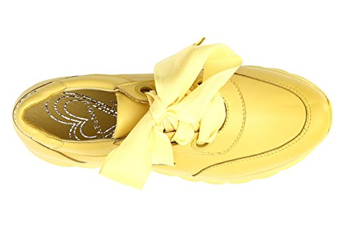 Cafènoir Sneaker Femme En Couleur Bloc Cuir Avec Lacets En Jaune Db235 Satin