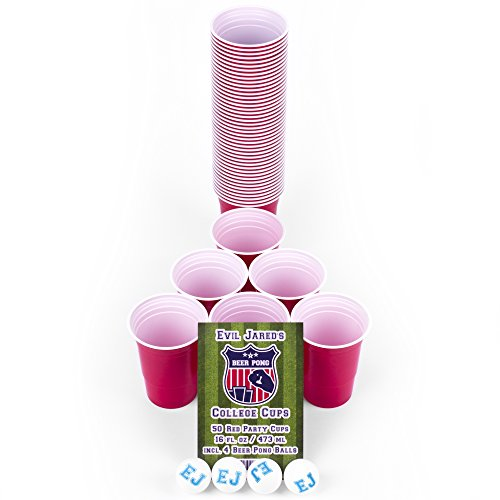 *EVIL JARED's College Cups | 50 Rote Becher (480ml) + 4 Ping Pong Bälle für Beer Pong | Red Cups College Partybecher*