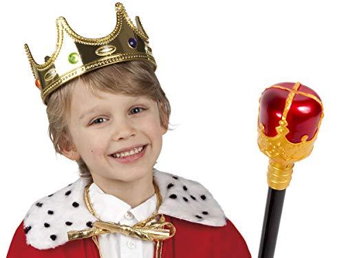 Alsino Prinz König Kinder Köstum Set 2-teilig (Kv-144) mit Königskrone und Königs-Zepter (Für Kostüm Kinder König)