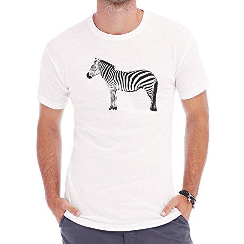Zebra Fat Sad Animal Standing Herren T-Shirt Weiß