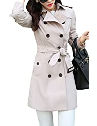 Yasong Women's Classical Long Sleeve Double Breasted Wind Coat Jacket Trench Coat With Belt