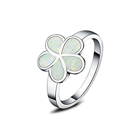 925 sterling silver synthetic fire opal flower rings for women (White, O)